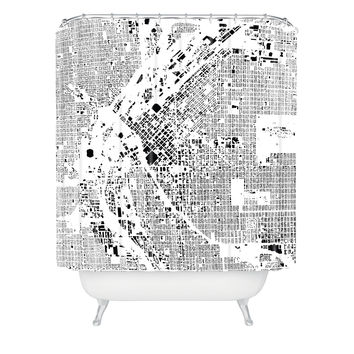 CityFabric Inc Denver White Shower Curtain