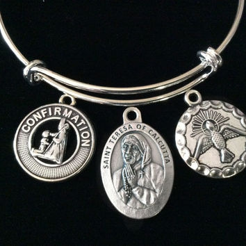 Confirmation Saint Teresa Expandable Charm Bracelet Silver Adjustable bangle Medal Catholic Gift Dove