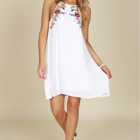 Floral Embroidery Shift Dress White