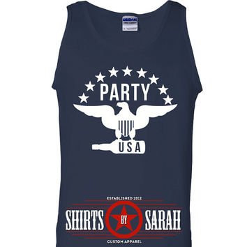 Party USA Eagle Tank - Men's 4th July Shirt Drinking Party Indepence Day Tanks