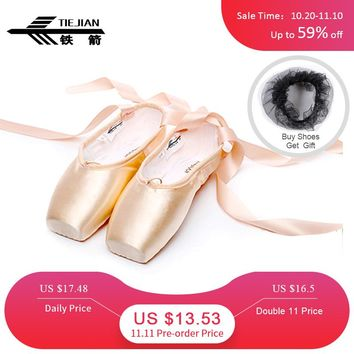 Professional Dance Pointe Shoes For Girls Adult Women Retro Durable Beginners Practice Ballet Shoes With Ribbons Red Black 20