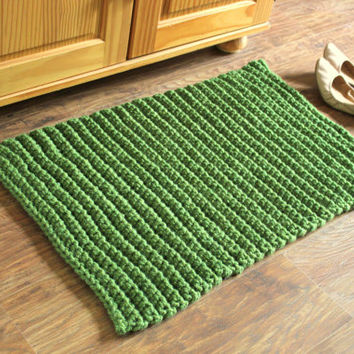 Green Rectangular Rug, Wool Rug, Large Rug, Bedside Rug, Home Decor, Thick, Chunky