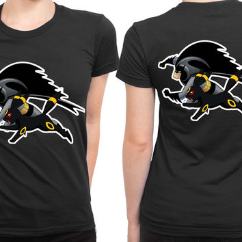 Batman And Umbreon Combine 2 Sided Womens T Shirt