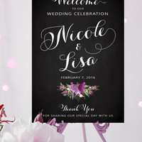 Welcome to our Wedding Sign - Poster Size - Amethyst Bouquet - Vintage White Script on Chalkboard - Personalized - I Create and You Print