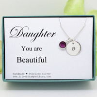 Gift for daughter necklace sterling silver custom birthstone necklace you are beautiful birthday gift personalized gif initial necklace