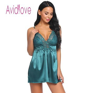 Lace Satin Women Patchwork Sexy Spaghetti Strap Chemise G-string Lingerie Pajamas