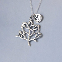 Tree Necklace. family necklace. Personalized Initial Necklace. For Mon,Sister. Sterling Silver necklace. No.198