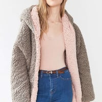Ecote Teddy Cosy Reversible Pink & Brown Hooded Jacket - Urban Outfitters