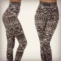 Aztec Tribal High Waist Leggings Stretch Indian Print Fashion Trend Ladies Pants