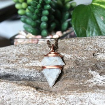 HAND KNAPPED Arrowhead Necklace, Ohio Flint Jewelry, Wire Wrapped Stone Pendant, Witch Shop, Bohemian Chic Festival Fashion, Hippie Style