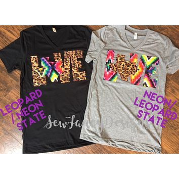 Love Texas Tee, Love Tee with Leopard and Neon Aztec