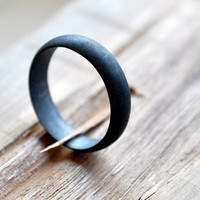Charcoal-Gunmetal Sterling Silver Wedding Band