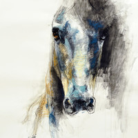 "12""x16"" - Photo print of a Horse Head Drawing"