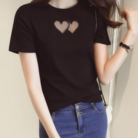 New Summer fashion Women temperament hollow out mes heart short sleeve T-shirt -0706