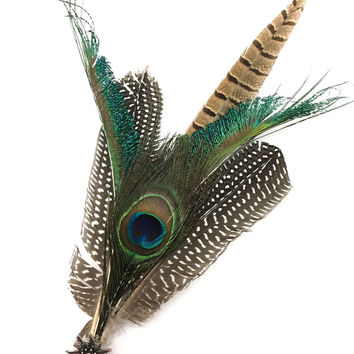 Deluxe German themed Hat Pin w/ Peacock Feathers