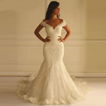 Princess Mermaid Wedding Dress Lace Appliques Vintage Sweetheart Wedding Dress Lace Back Gown