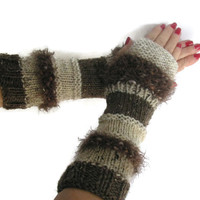 Fingerless Gloves, Knit Gloves, Texting Gloves, Driving Gloves,  Brown And White, Gauntlets, Girls, Womens, Fiber Art