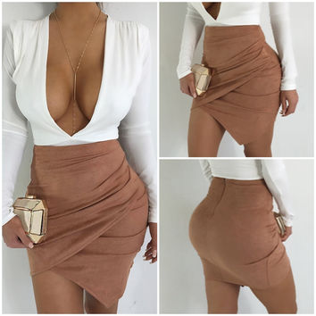 Sexy Wrap Faux Suede Short Bodycon Skirt