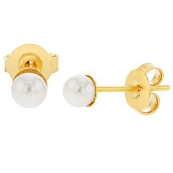 14k Gold Plated Plain White Simulated Pearl Stud Earrings for Girls 4mm