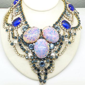 Husar D Czech Glass Blue Opal Statement Necklace