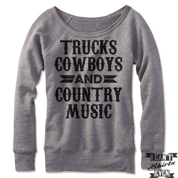 Trucks Cowboys And Country Music Off-The-Shoulder Sweater 057ab8ec9