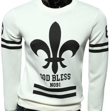"White Printed ""GOD BLESS"" Sweatshirt"
