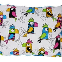 Minky Pillow Soft cosy reversible cotton parrot