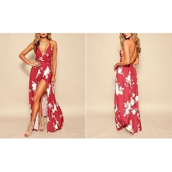 RED FLORAL MAXI WRAP DRESS