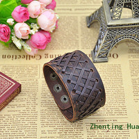 Leather bracelet,Men's brown leather wrist bracelet,Men cuff jewelry bracelet,gifts for him D-30