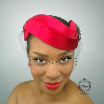 Red Halo Hat, Vintage Inspired Hat, Red velvet Hat, Mad Men Inspired Hat, Wedding Hat, Vintage Veiling, Silk Veil