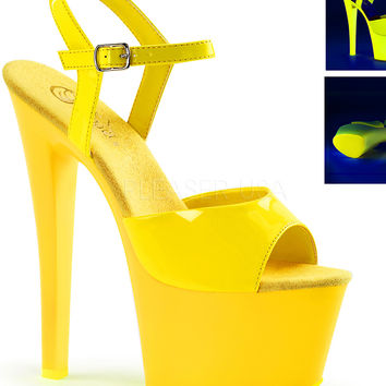 Neon Yellow Ankle Strap Sandle With 7 Inch Heels-Rave Shoes