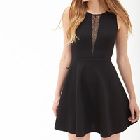 Lace Cutout Skater Dress