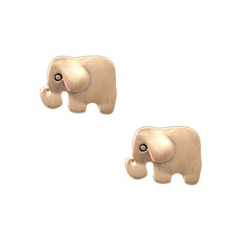 Handmade Brushed Metal Baby Elephant Stud Earrings