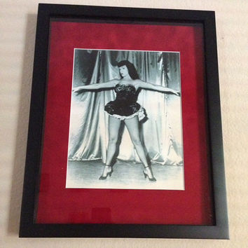 Tu-Tu Cute Bettie Page Framed Pin-Up Photo Vintage