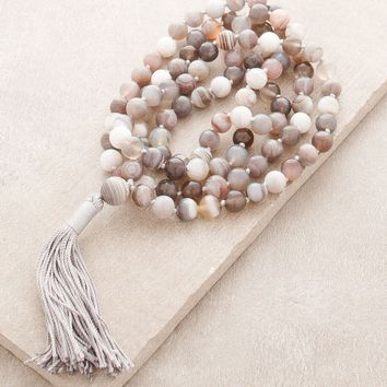 High-Energy Botswana Agate Mala