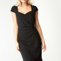 Keyhole Back Sweetheart Midi Dress in Black - Roman Originals UK