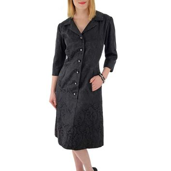 60s Black Damask Button Front Cocktail Dress-L