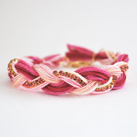 Pink friendship bracelet, pink braid bracelet with rhinestone chain, pink bracelet