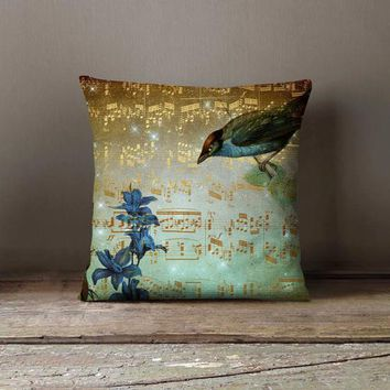 Golden Music Notes Bird Pillowcase Decorative