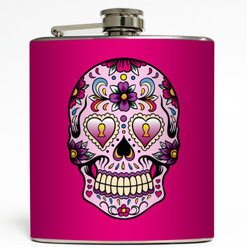 Day of the Dead Skull - Pink Flask
