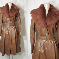 Vintage 70s Leather & Fur Princess Coat | 1970s Penny Lane Fur Collar Coat | Hourglass Waist Flared Coat  | Fitted Leather Overcoat | SMALL