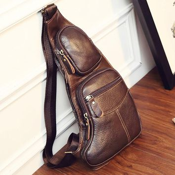 High Quality Men Genuine Leather Cowhide Vintage Sling Chest Back Day Pack Travel fashion Cross Body Messenger Shoulder Bag (Color: Coffee)