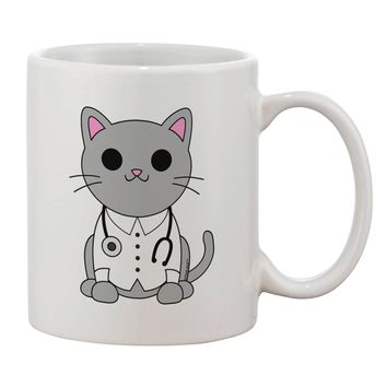 Dr Cat MD - Cute Cat Design Printed 11oz Coffee Mug by TooLoud