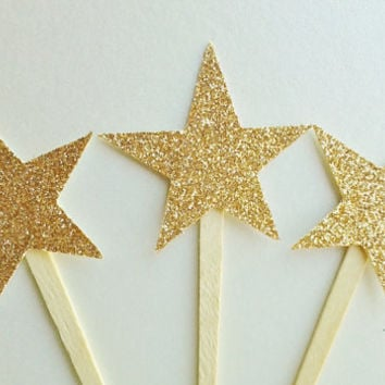 Star Cupcake toppers,glitter toppers,new years eve toppers,cupcake picks,gold star decor,Christmas toppers,christmas party decor,cake topper