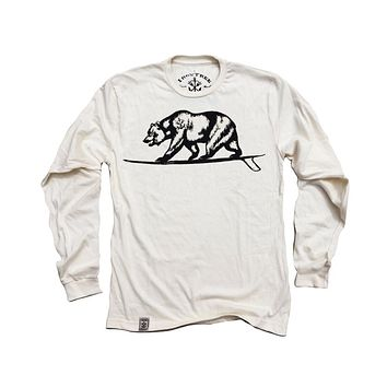 Cali Bear Surfing: Organic Fine Jersey Long Sleeve T-Shirt in Unbleached Natural