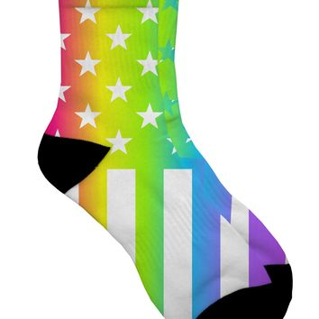 American Pride - Rainbow Stars and Stripes Adult Short Socks All Over Print