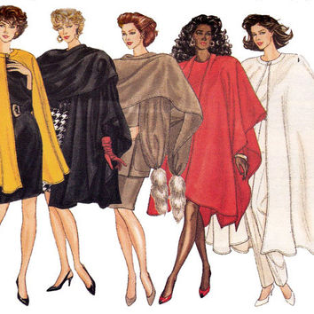 Womens Cape & Stole 80s Vintage Sewing Pattern Size L XL UNCUT FF Goth Halloween