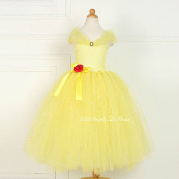 Belle Princess Dress. 2017 Beauty and the Beast Movie. Handmade Tutu Dress. Birthday Party. Disney Princess Dress