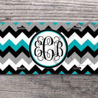 Gray, Black and Turquoise chevron Custom License Plate, Monogrammed Car Tag with your name or initials, personalized license plate - 401