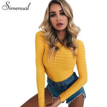 Simenual winter long sleeve sexy bodysuit striped slim yellow body for women casual bandage jumpsuit fitness bodysuits